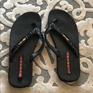 Prada Shoes - Size 9 Prada flip flops w patent band 10 years old